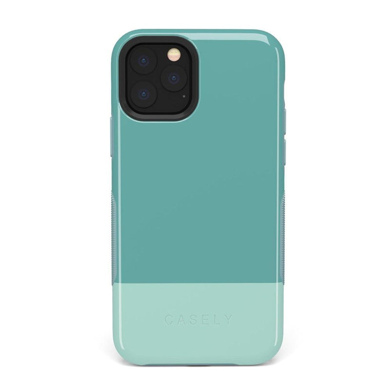The Bold Collection - Teal Color Block on Aqua Mint iPhone Case get.casely Bold iPhone 11 Pro Max
