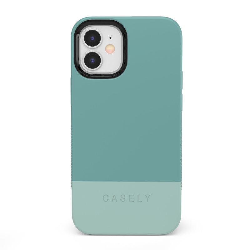 The Bold Collection - Teal Color Block on Aqua Mint iPhone Case get.casely Bold iPhone 12 Mini