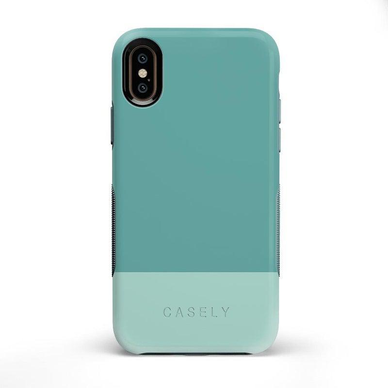 The Bold Collection - Teal Color Block on Aqua Mint iPhone Case get.casely Bold iPhone X / XS
