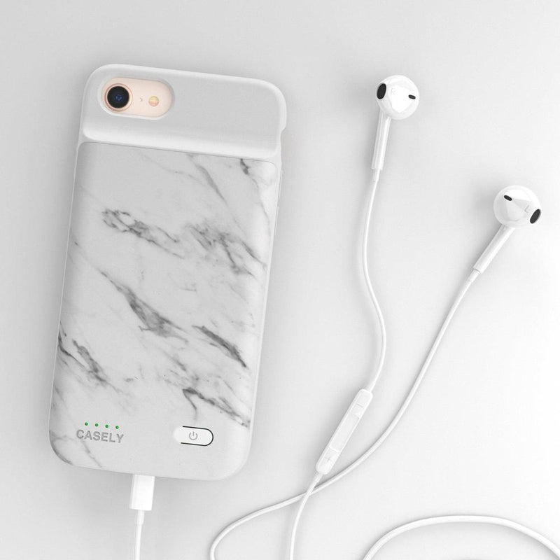White Marble Battery-Powered Charging Case iPhone Case get.casely