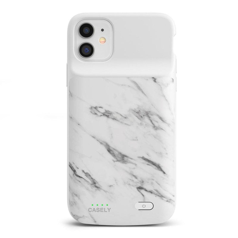 White Marble Battery-Powered Charging Case iPhone Case get.casely Power 2.0 iPhone 11