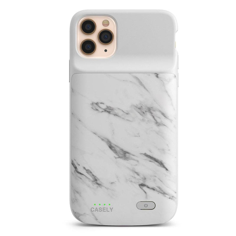White Marble Battery-Powered Charging Case iPhone Case get.casely Power 2.0 iPhone 11 Pro Max