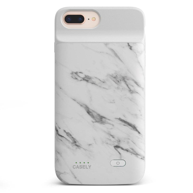 White Marble Battery-Powered Charging Case iPhone Case get.casely Power 2.0 iPhone 8 Plus
