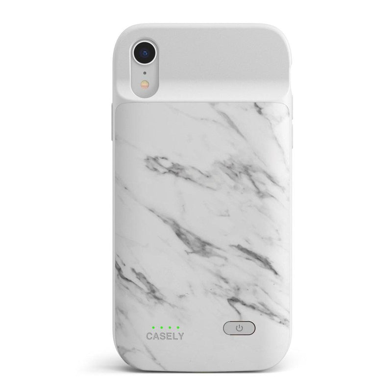 White Marble Battery-Powered Charging Case iPhone Case get.casely Power 2.0 iPhone XR