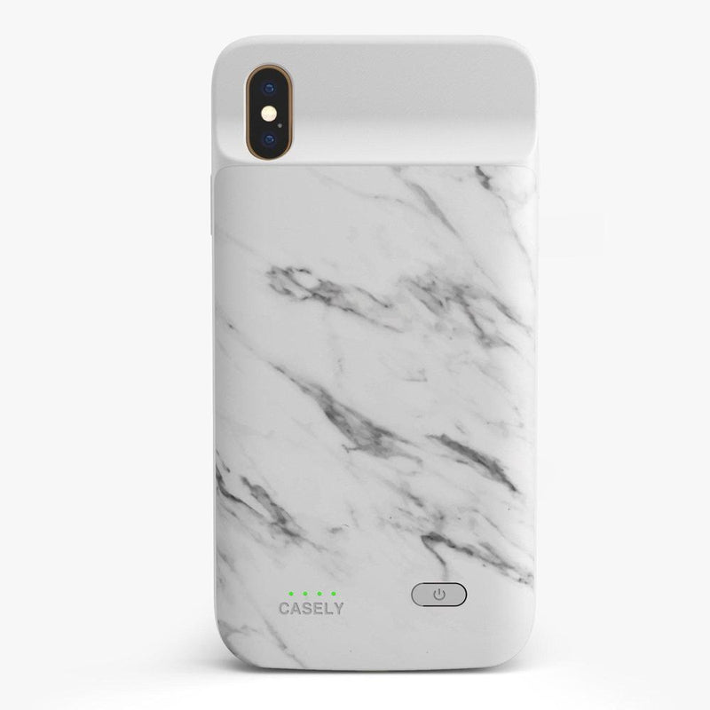 White Marble Battery-Powered Charging Case iPhone Case get.casely Power 2.0 iPhone XS Max