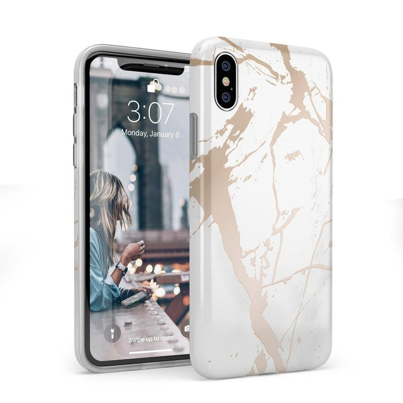 White Rose Gold Marble Case iPhone Case Get.Casely Classic iPhone X / XS