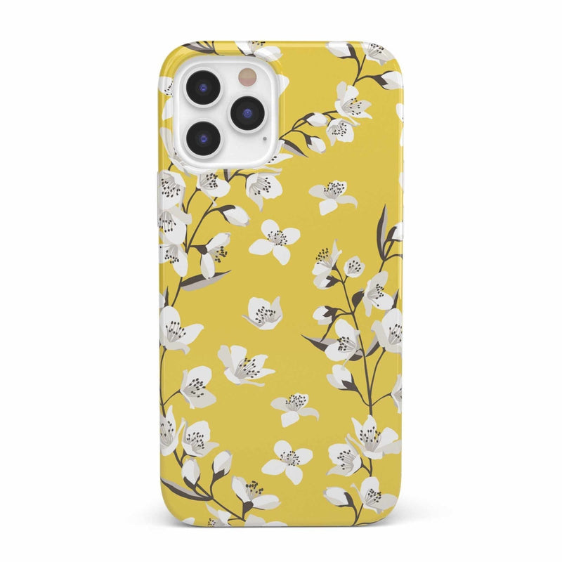 Yellow Cherry Blossom Floral Case iPhone Case get.casely Classic iPhone 12 Pro