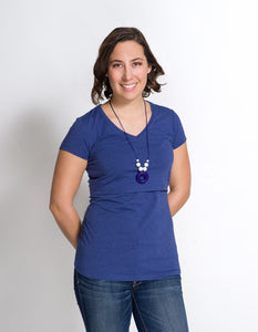 New Short Sleeve Nursing T-Shirt Heathered Blue BEST SELLER!