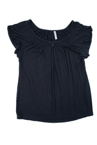 XL Thyme Maternity Short Sleeve Scoop neck top In Black