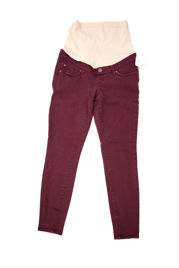 XS Makers of the True Original Maternity Wine Colour Skinny Jeans 28