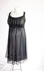 XL Layered & Beaded Little Black Maternity Dress