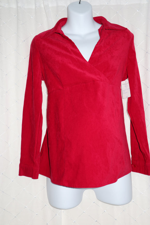 M Motherhood Maternity Red Velour Blouse