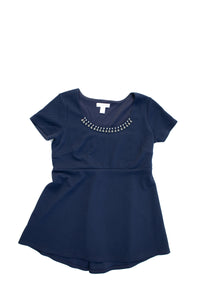 S Motherhood Maternity Navy Jewel Accent Top