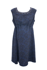 M Motherhood Maternity Cocktail Dress Navy with Black Lace Overlay