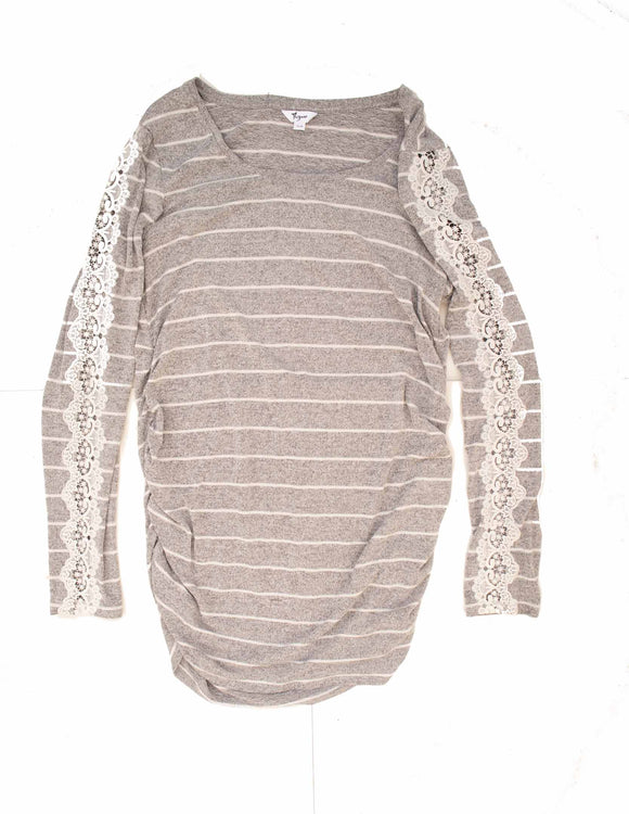 XL Thyme Maternity Sweater with Lace Sleeve Inlay