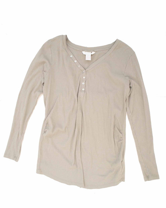 XL H&M Mama Long Sleeve Ribbed Maternity Top