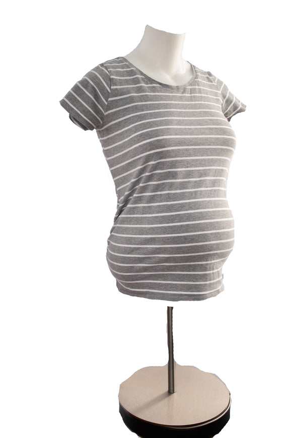 S Bump Start Maternity Short SleeveGrey & White Stripe Top Two Colours