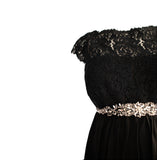 M Seraphiné Maternity Luxe Black Eyelash Lace & Silk Maternity Dress Size 8