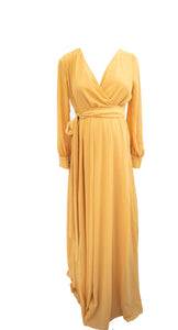 L PinkBlush Mustard Chiffon Maxi Dress New