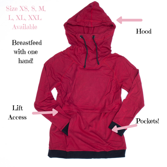 New Nursing Hoodie in Heathered Red