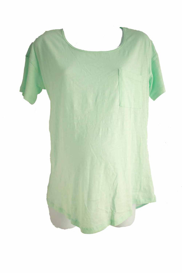 XS New Thyme Maternity Short Sleeve Top in Mint Green