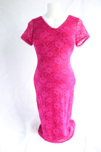 S Stork & Babe Fuchsia Lace Dress