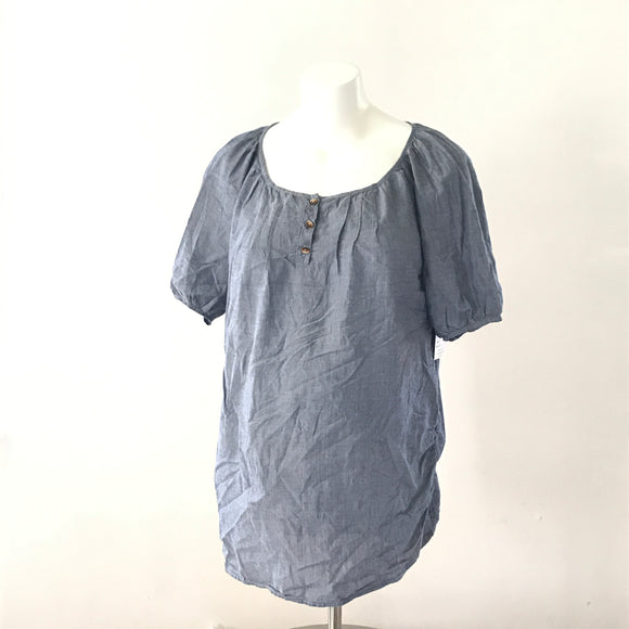 S 9Fashion Denim-Look Pullover Top