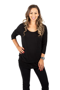New 3/4 Sleeve Maternity & Nursing Top in Black