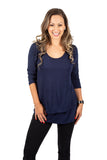 New 3/4 Sleeve  Maternity & Nursing Top In Deep Blue Sea