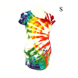 NEW!  Maternity Tie Dye T-Shirts! Single Side Scattered Rainbow