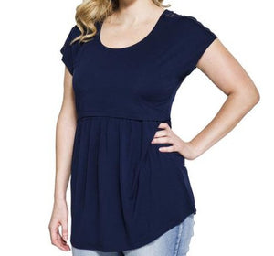 New Lace Sleeve  Maternity & Nursing Top in Deep Blue Sea