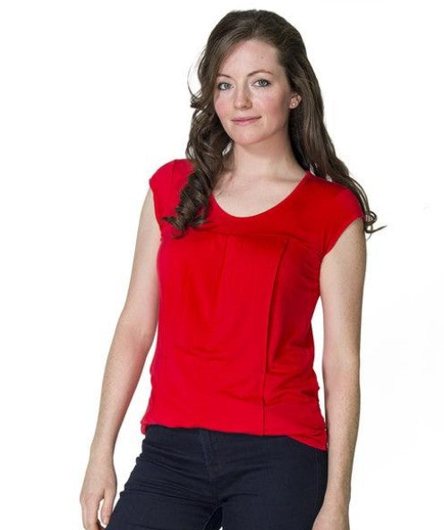 New Side Access Nursing Top In Red LAST ONE SIZE XL