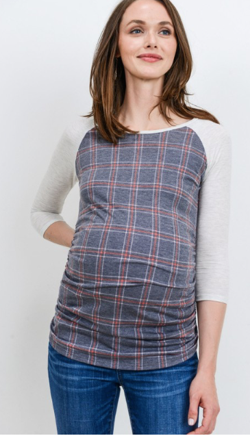 New Plaid Raglan Sleeve Maternity Top