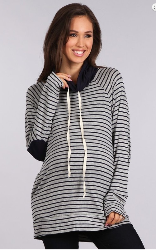 CLEARANCE 25% OFF APPLIED New Maternity Stripe Cowl Neck Sweater with Pockets!