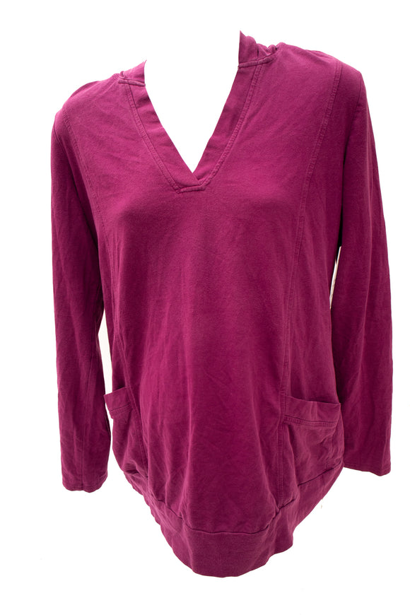 XL Thyme Maternity Pullover Hoodie in Plum