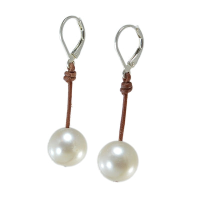 "FWE Single White Earring-1"" drop"