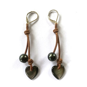 Amour Heart Cherries Earrings-Tahitian Pearl