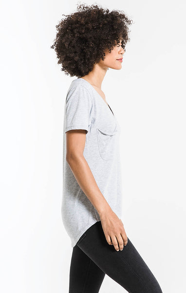 The Pocket Tee-H. Grey Burnout
