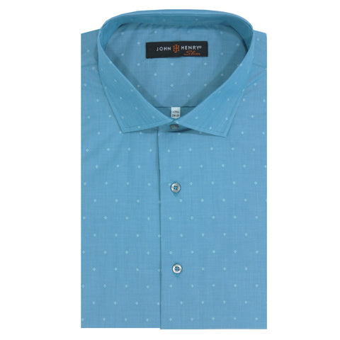 Slim Dress Shirt Blue & Diamonds