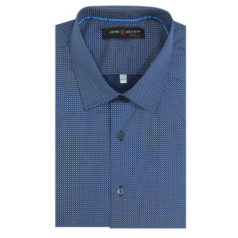 Slim Dress Shirt Diamonds Blue & White