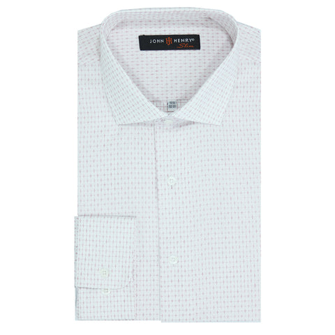 Slim Dress Shirt White Crosses Red