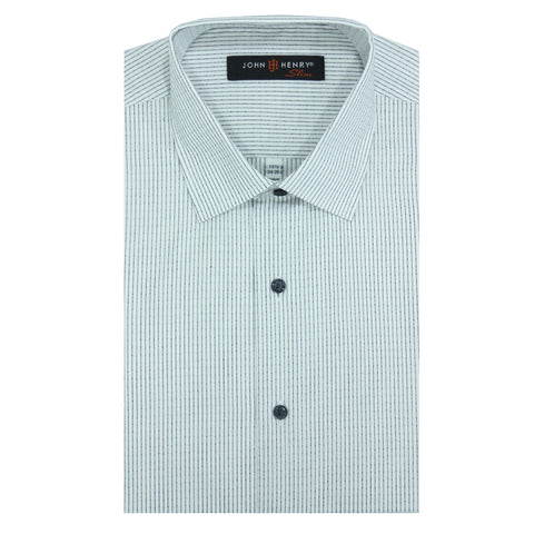 Slim Dress Shirt White Lines & Texture