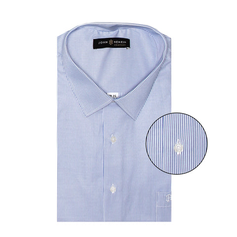 Comfort Dress Shirt Lines White & Sky