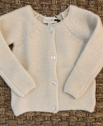 Mini Garter Cardigan Rose and Cream
