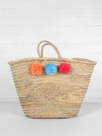 Pom Pom Basket- Peach Blue & Pink