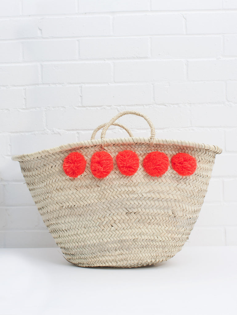 Market Pom Pom Basket-Orange