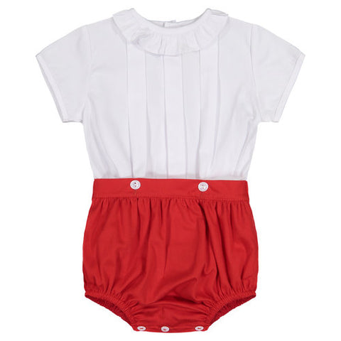 Red Pique Button Bloomer