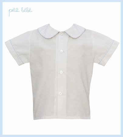 White Shirt with Light Blue Stripe Piping