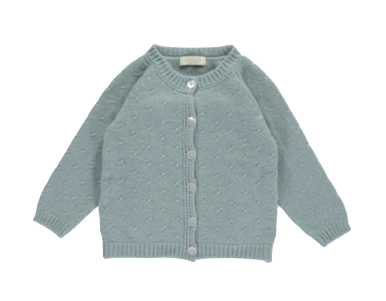Cashmere Rose Stitch Cardigan, Duck egg (1/2y)