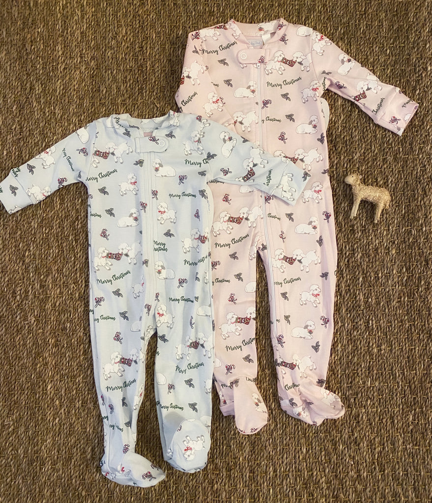 Christmas Lamb Footie Pajamas- Blue